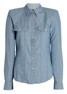 Veronica Beard Crawford Padded Shoulder Chambray Shirt
