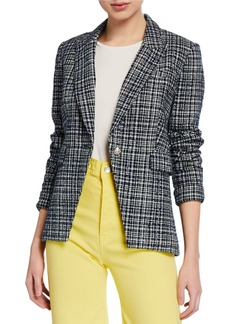 Veronica Beard Crosshatch One-Button Cutaway Jacket