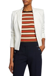 Veronica Beard Danielle One-Button Dickey Crop Jacket
