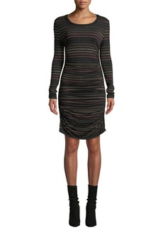 Veronica Beard Daphne Striped Metallic Long-Sleeve Dress