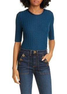 Veronica Beard Delilah Metallic Trim Merino Wool Sweater