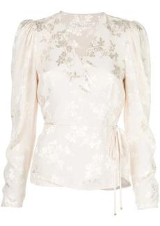 Veronica Beard Eden floral-jacquard wrap blouse