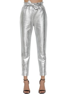 Veronica Beard Faxon Straight Metallic Leather Pants