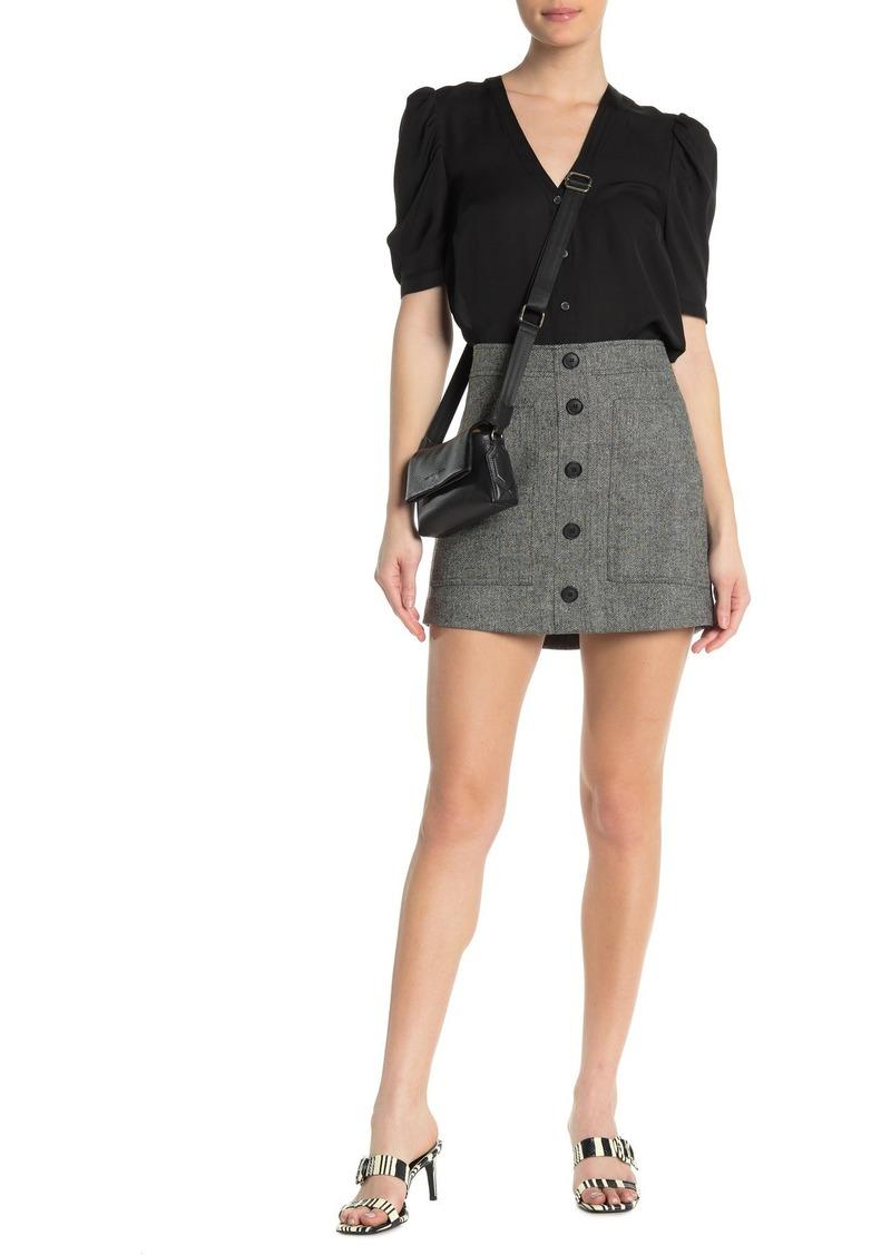 Veronica Beard Fisher Button Down Chevron Skirt