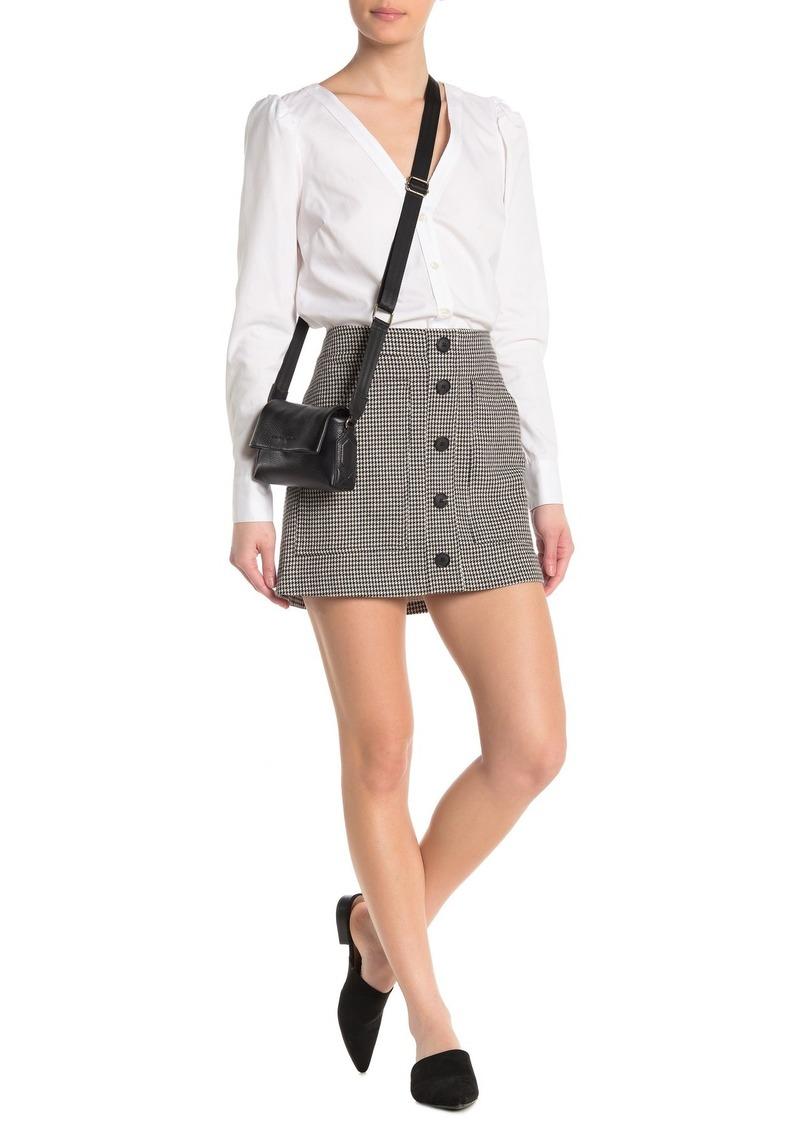 Veronica Beard Fisher Button Down Houndstooth Skirt