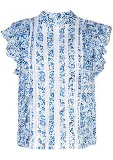 Veronica Beard floral print ruffled top