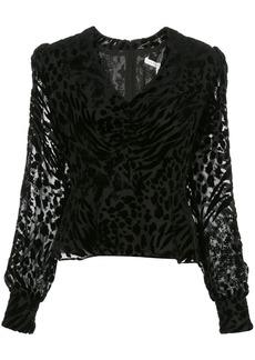 Veronica Beard Giacomo leopard-print velvet blouse