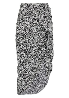 Veronica Beard Hazel Draped Floral Cotton Skirt