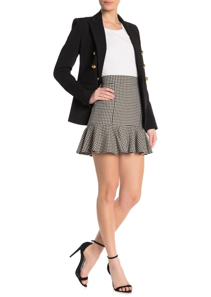 Veronica Beard Houndstooth Ruffle Hem Mini Skirt