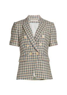 Veronica Beard Jenny Short-Sleeve Double-Breasted Tweed Jacket