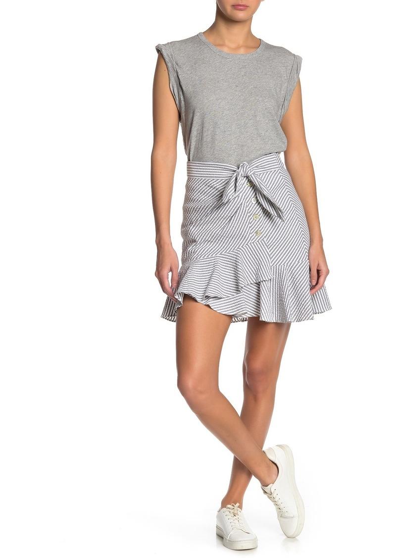 Veronica Beard Kaia Stripe Waist Tie Mini Skirt