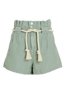 Veronica Beard Karter Pleated Cotton-Linen Shorts