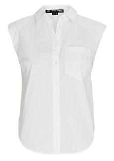 Veronica Beard Kat Padded Shoulder Button-Down Shirt