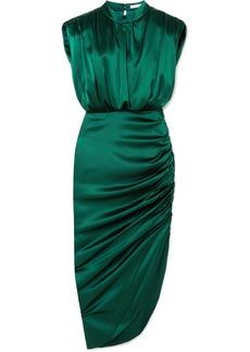 Veronica Beard Kendall Gathered Stretch-silk Satin Dress