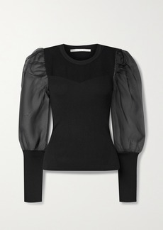 Veronica Beard Leila Ribbed Merino Wool-blend And Silk-organza Sweater