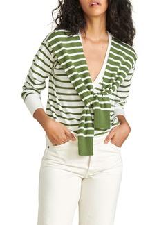 Veronica Beard Leni Striped Sleeve-Tie sweater