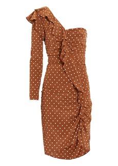 Veronica Beard Leona One Shoulder Brown Polka Dot Dress