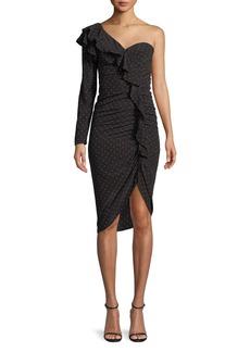 Veronica Beard Leona Ruched Polka-Dot One-Shoulder Ruffle Dress