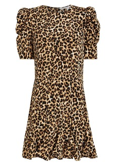 Veronica Beard Lila Leopard Puff Sleeve Dress