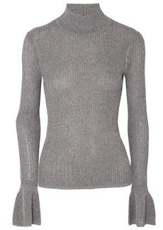 Veronica Beard Lilia Metallic Ribbed-knit Turtleneck Sweater