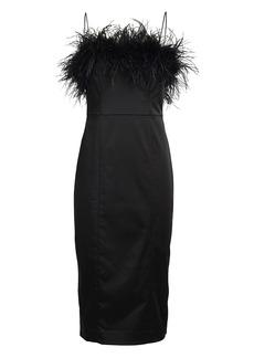 Veronica Beard Lilya Feather-Trimmed Midi Dress