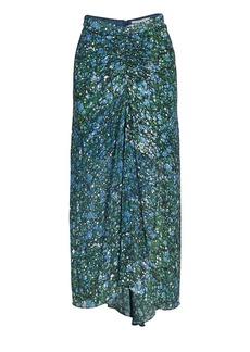 Veronica Beard Limani Bubble-Print Ruched Skirt