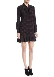 Veronica Beard Linley Tie-Neck Long-Sleeve Dot-Print Silk Dress