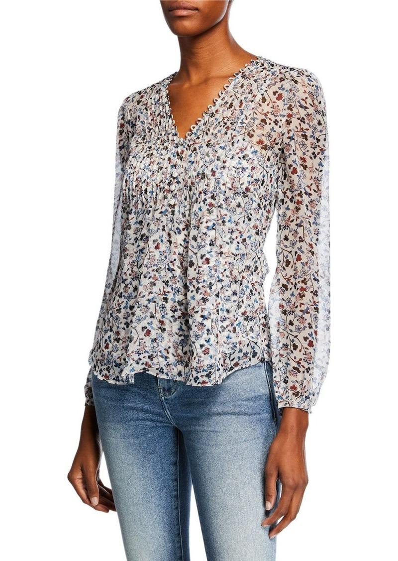 fe616f3630f217 Veronica Beard Lowell V-Neck Long-Sleeve Floral-Print Blouse ...