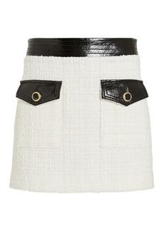 Veronica Beard Lucy Vegan Leather-Trimmed Tweed Skirt