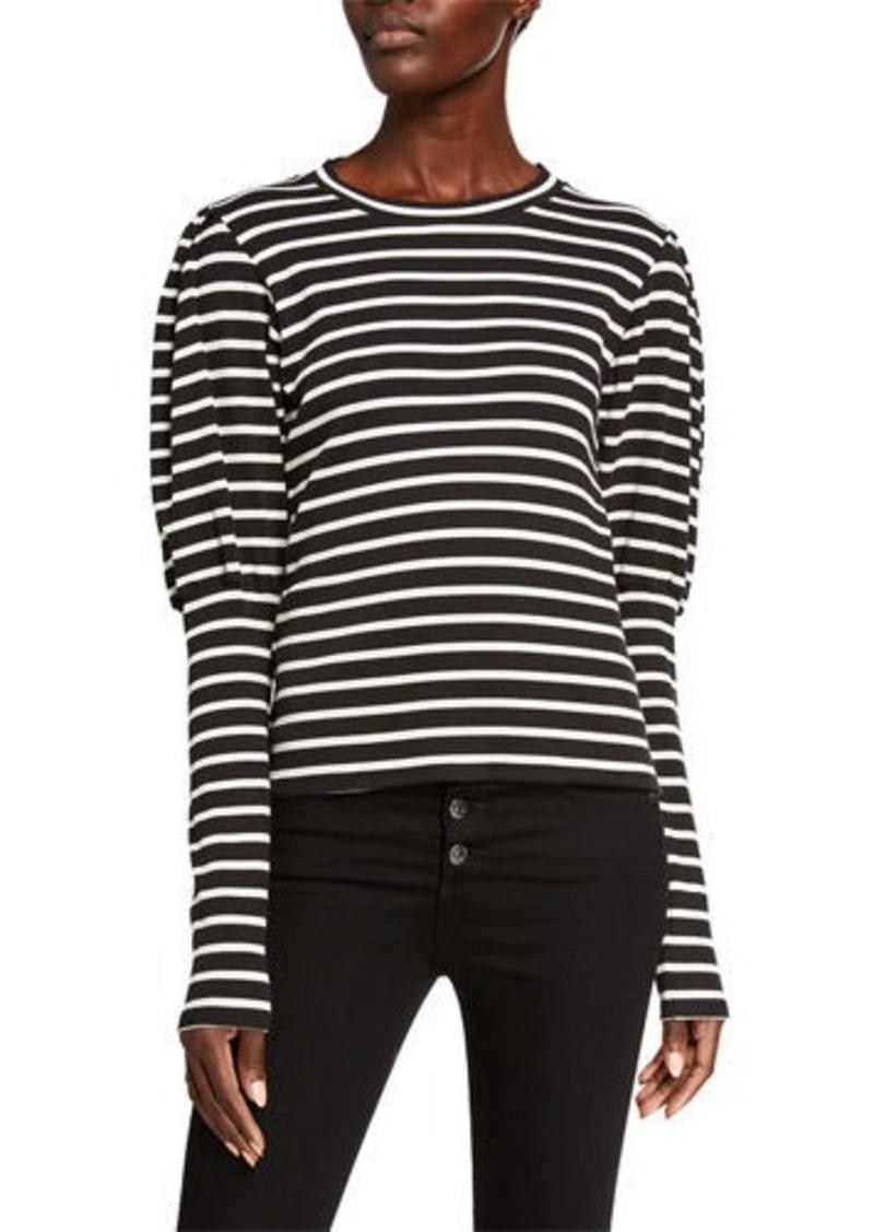 Veronica Beard Lyon Striped Puff-Sleeve Top