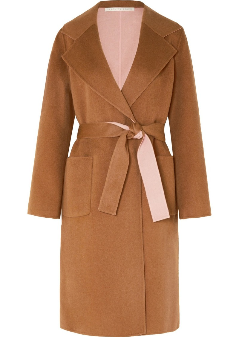 Veronica Beard Lyonia Belted Two-tone Wool And Cashmere-blend Coat
