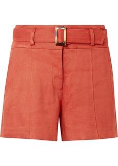 Veronica Beard Makayla Belted Linen-blend Shorts