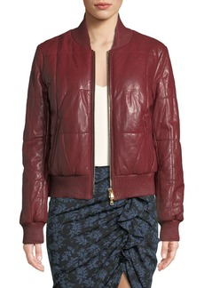 Veronica Beard Malin Quilted Leather Zip-Front Bomber Jacket