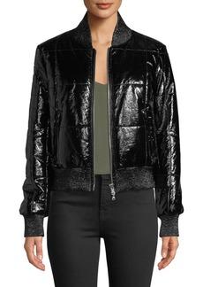 Veronica Beard Malin Quilted Zip-Front Bomber Jacket