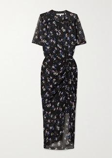 Veronica Beard Mariposa Ruched Floral-print Silk-crepon Midi Dress