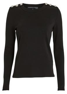 Veronica Beard Mayer Button Shoulder Top