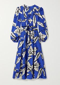 Veronica Beard Mclean Belted Wrap-effect Printed Silk-blend Jacquard Midi Dress