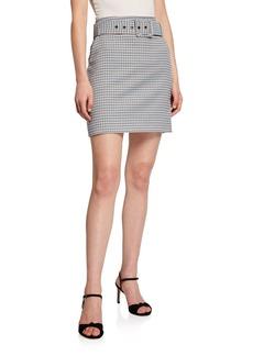 Veronica Beard Melissa Belted Check Skirt