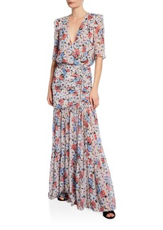 Veronica Beard Mick Gathered Floral-Print Maxi Dress