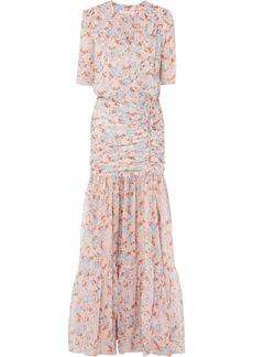 Veronica Beard Mick Ruched Floral-print Silk-chiffon Maxi Dress