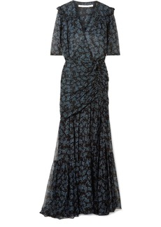 Veronica Beard Mick Ruched Silk Crepe De Chine And Chiffon Maxi Dress