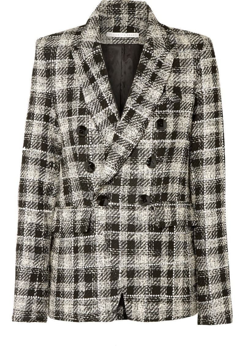 Veronica Beard Miller Dickey Double-breasted Crystal-embellished Checked Tweed Blazer
