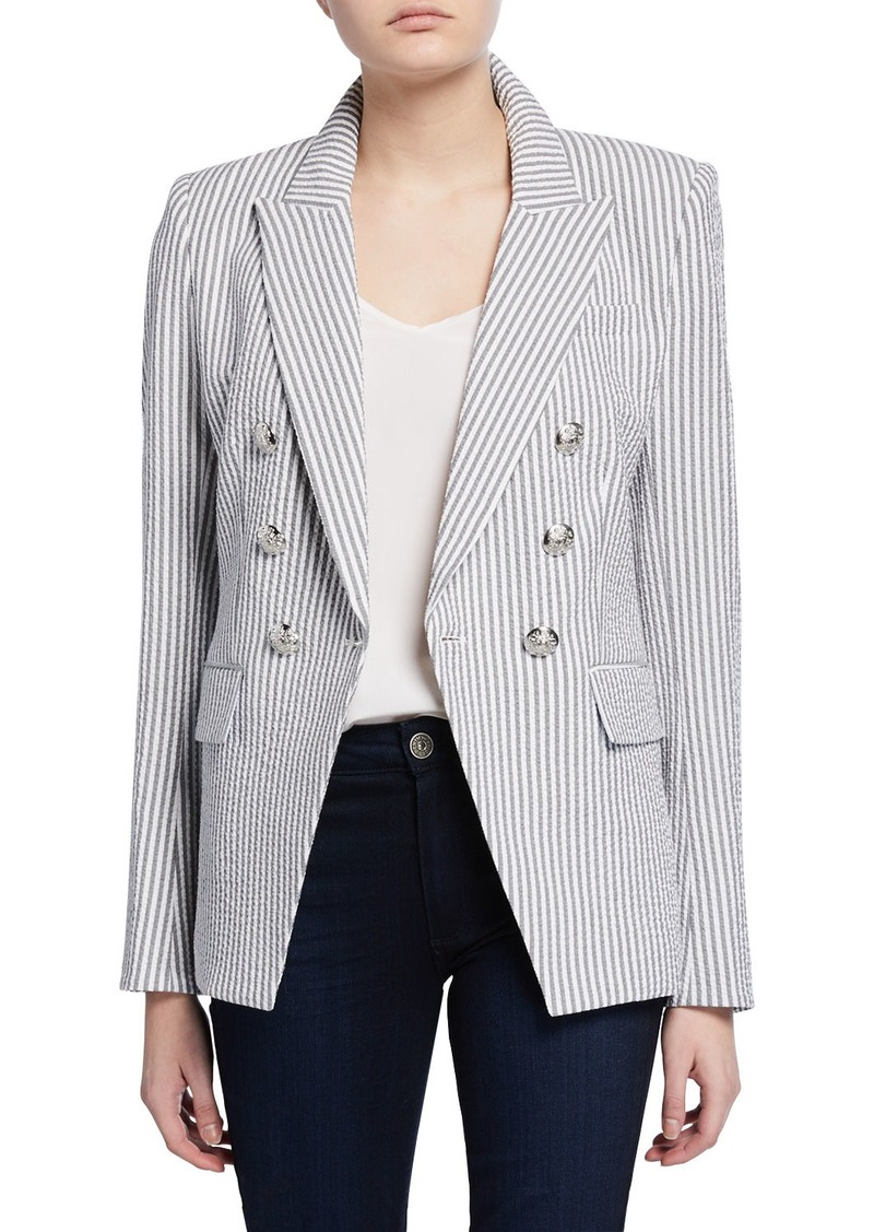 Veronica Beard Miller Double-Breasted Check Dickey Jacket