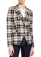Veronica Beard Miller Plaid Double-Breasted Dickey Jacket
