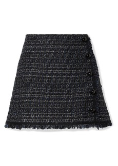 Veronica Beard Mirabella Button-embellished Metallic Tweed Mini Skirt