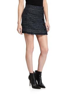 Veronica Beard Mirabelle Tweed Button-Front Skirt