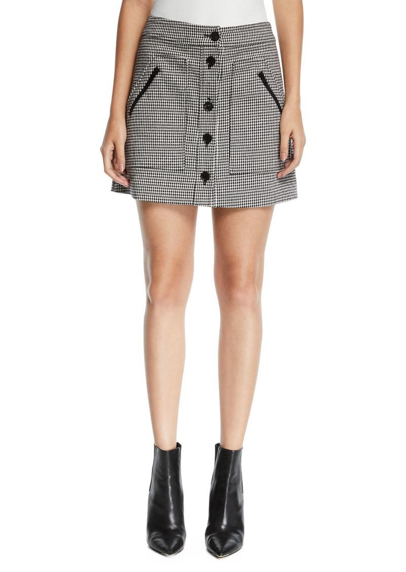 Veronica Beard Monroe Houndstooth Button-Front Mini Skirt