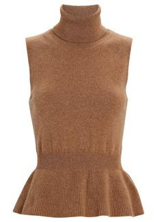 Veronica Beard Noor Sleeveless Cashmere Turtleneck Sweater