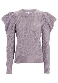 Veronica Beard Novah Pointelle Puff Sleeve Sweater