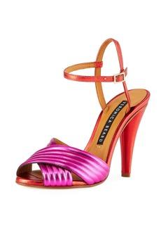 Veronica Beard Olympia Metallic Leather Ankle-Wrap Sandals